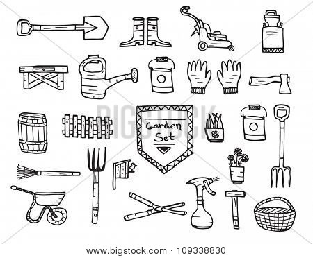 Collection of garden doodle sketch elements on white background. Vector illustration.