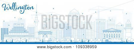 Outline Wellington skyline with blue buildings. Vector illustration. Business travel and tourism concept with modern buildings. Image for presentation, banner, placard and web site.