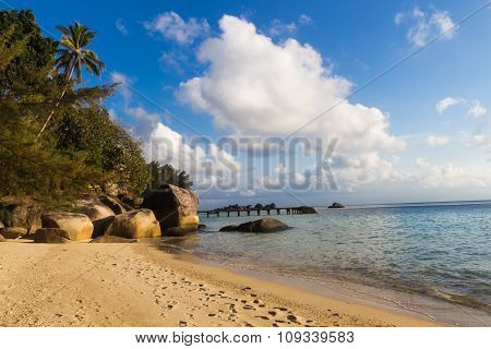 Sandy Tropical Beach With Huge Boulders