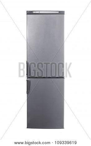 studio shot big stainless steel refrigerator isolated on white