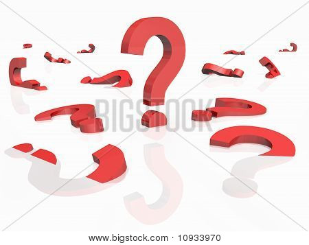 3D Rendered Question Marks