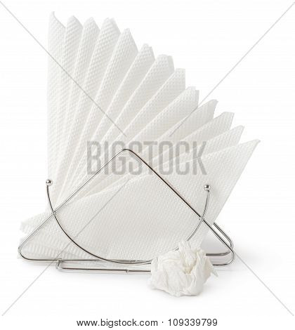 Table Napkin Holder With Crumpled Napkin