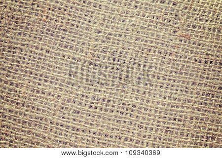 Vintage Toned High Quality Close Up Picture Of Jute Fabric.