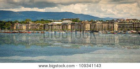 Geneve, Switzerland - 11 May 2014: panoramic  view of the modern embankment and the center of Geneva, Switzerland