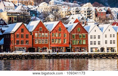 Bryggen and old houses in the center of Bergen at Christmas, Norway