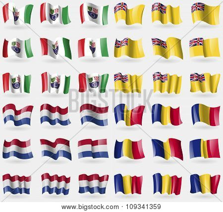 Bosnia And Herzegovina Federation, Niue, Netherlands, Romania. Set Of 36 Flags Of The Countries Of