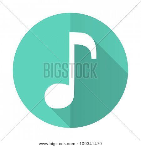 music blue web flat design circle icon on white background