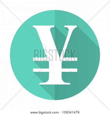 yen blue web flat design circle icon on white background