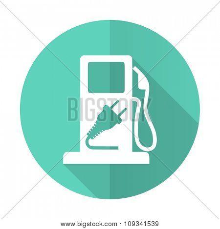 fuel blue web flat design circle icon on white background