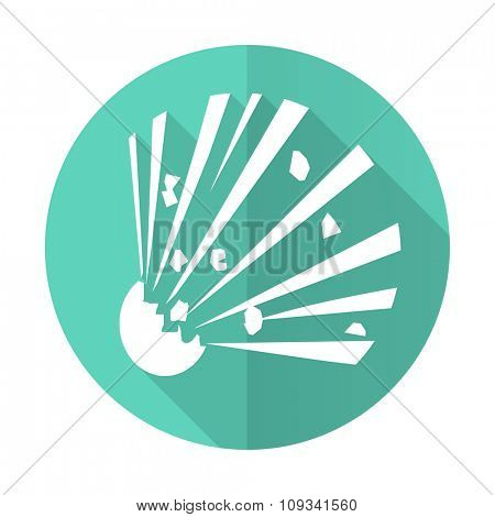 bomb blue web flat design circle icon on white background
