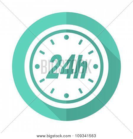 24h blue web flat design circle icon on white background