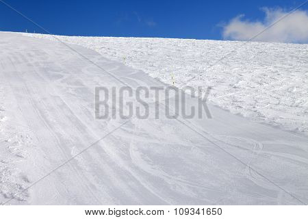 Empty Ski Slope At Sun Day