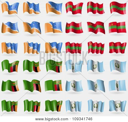 Tierra Del Fuego, Transnistria, Zambia, Guatemala. Set Of 36 Flags Of The Countries Of The World.