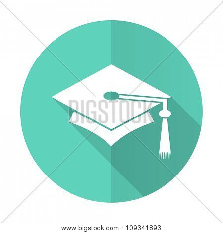 education blue web flat design circle icon on white background