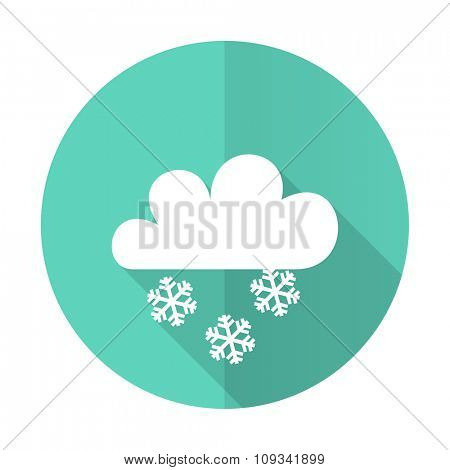 snowing blue web flat design circle icon on white background