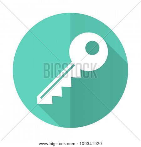 key blue web flat design circle icon on white background