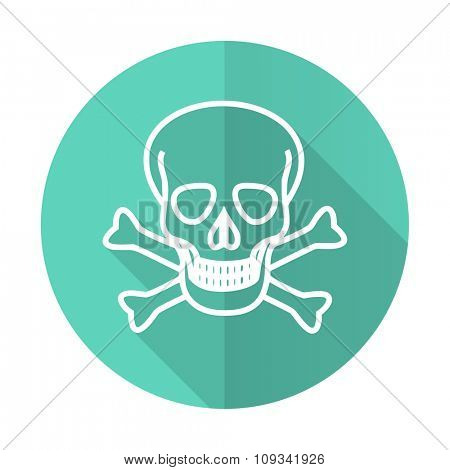 skull blue web flat design circle icon on white background