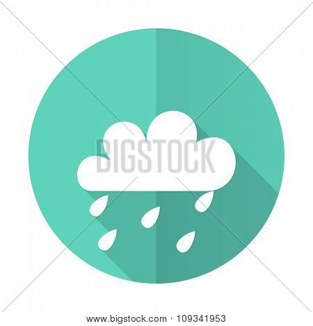 rain blue web flat design circle icon on white background