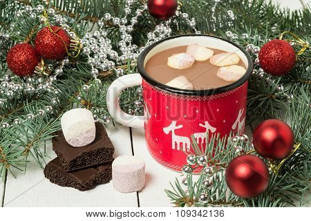 Mug With Hot Chocolate And Marshmallow