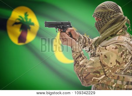 Male In Muslim Keffiyeh With Gun In Hand And National Flag On Background - Cocos (keeling) Islands