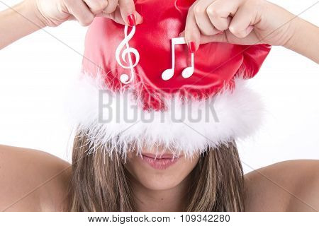 Happy Christmas Girl Showing White Musical Note