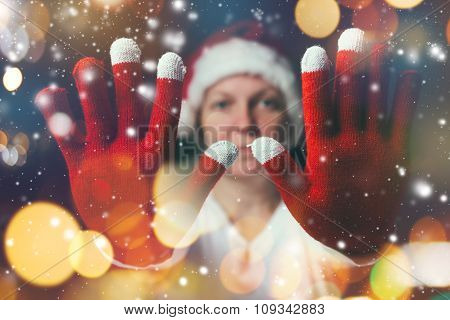 Stop The Celebration, Beautiful Woman In Santa Claus Costume