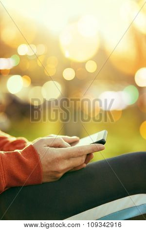 Female Hands With Mobile Smartphone