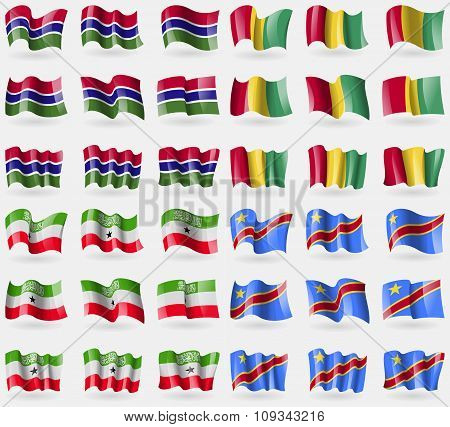 Gambia, Guinea, Somaliland, Congo Democratic Republic. Set Of 36 Flags Of The Countries Of The