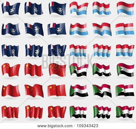French And Antarctic, Luxembourg, China, Sudan. Set Of 36 Flags Of The Countries Of The World.