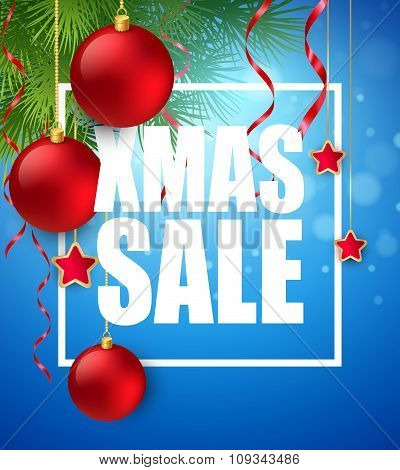 Xmas sale poster with cristmas decoration. Vector illustration