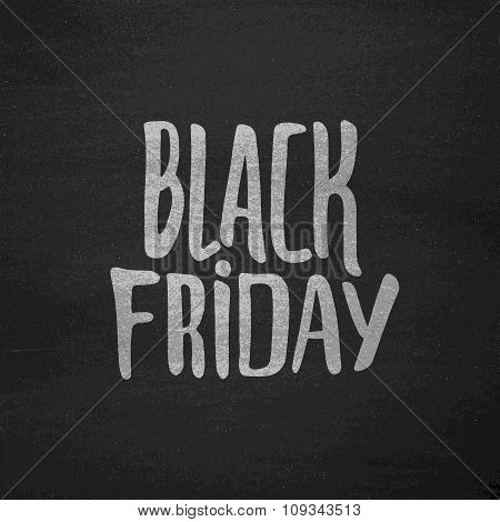Black Friday Sale typographic label on chalkboard