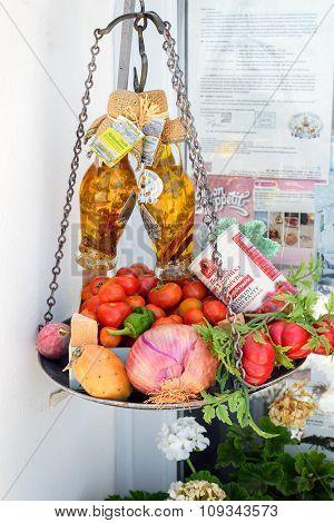 Traditional Greek food in the shop of Santorini island, Grecee