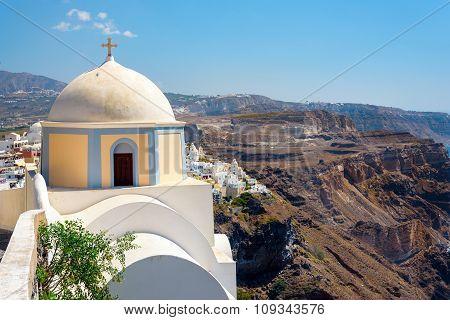Old church on cliff of Santorini island, Greece