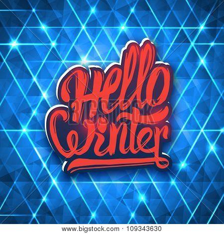 Hello winter modern lettering