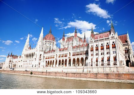 View of the building of the Hungarian parliament
