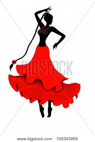 Isolated dancing girl silhouette illustration