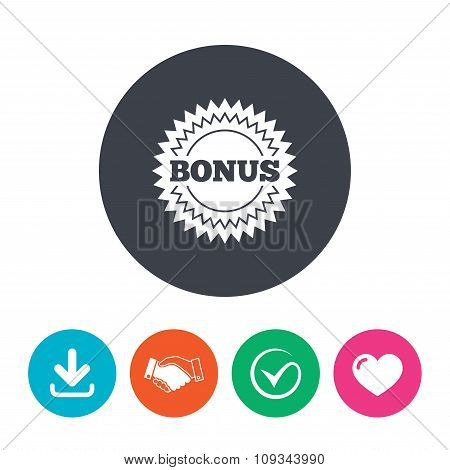 Bonus sign icon. Special offer star symbol