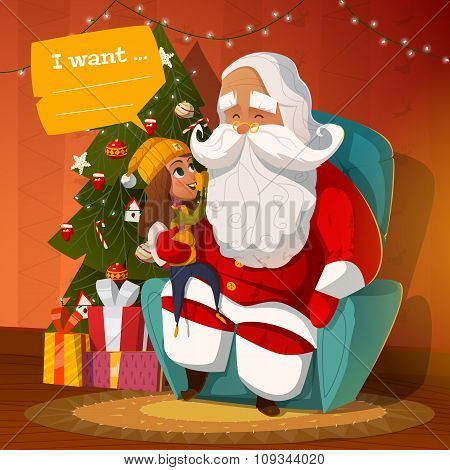 Santa Claus with little kid