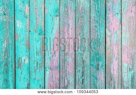 Aquamarine  Wooden Planks Background -