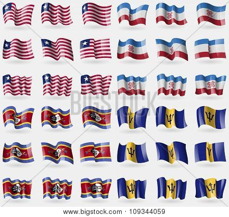 Liberia, Mari El, Swaziland, Barbados. Set Of 36 Flags Of The Countries Of The World.
