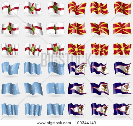 Alderney, Macedonia, Micronesia, American Samoa. Set Of 36 Flags Of The Countries Of The World.