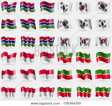 Gambia, Korea South, Monaco, Tatarstan. Set Of 36 Flags Of The Countries Of The World.
