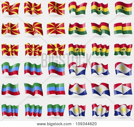 Macedonia, Ghana, Dagestan, Saba. Set Of 36 Flags Of The Countries Of The World.