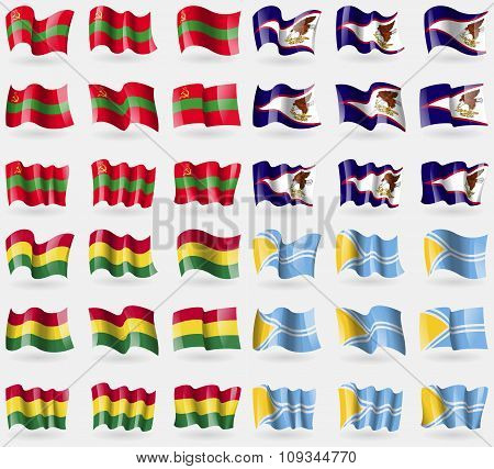 Transnistria, American Samoa, Bolivia, Tuva. Set Of 36 Flags Of The Countries Of The World.