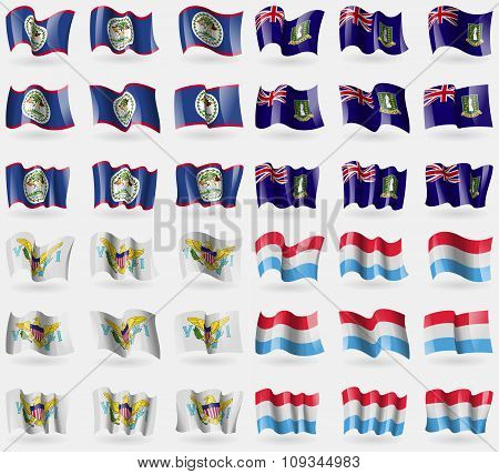 Belize, Virginislandsuk, Virginislandsus, Luxembourg. Set Of 36 Flags Of The Countries Of The