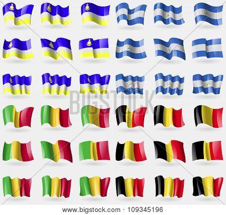 Buryatia, Nicaragua, Mali, Belgium. Set Of 36 Flags Of The Countries Of The World.