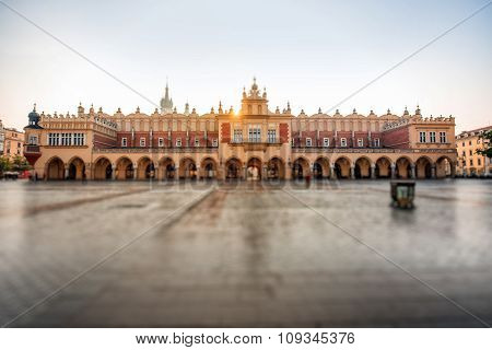 Market square with beautiful Cloth Hall in Krakow on the morning sunrise