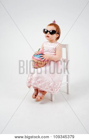 Beauty little Girl with toy cake