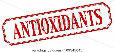 Antioxidants Square Red Grunge Vintage Isolated Label