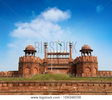 Travel India - The Red Fort (Lal Qila) Delhi - World Heritage Site. Delhi, India